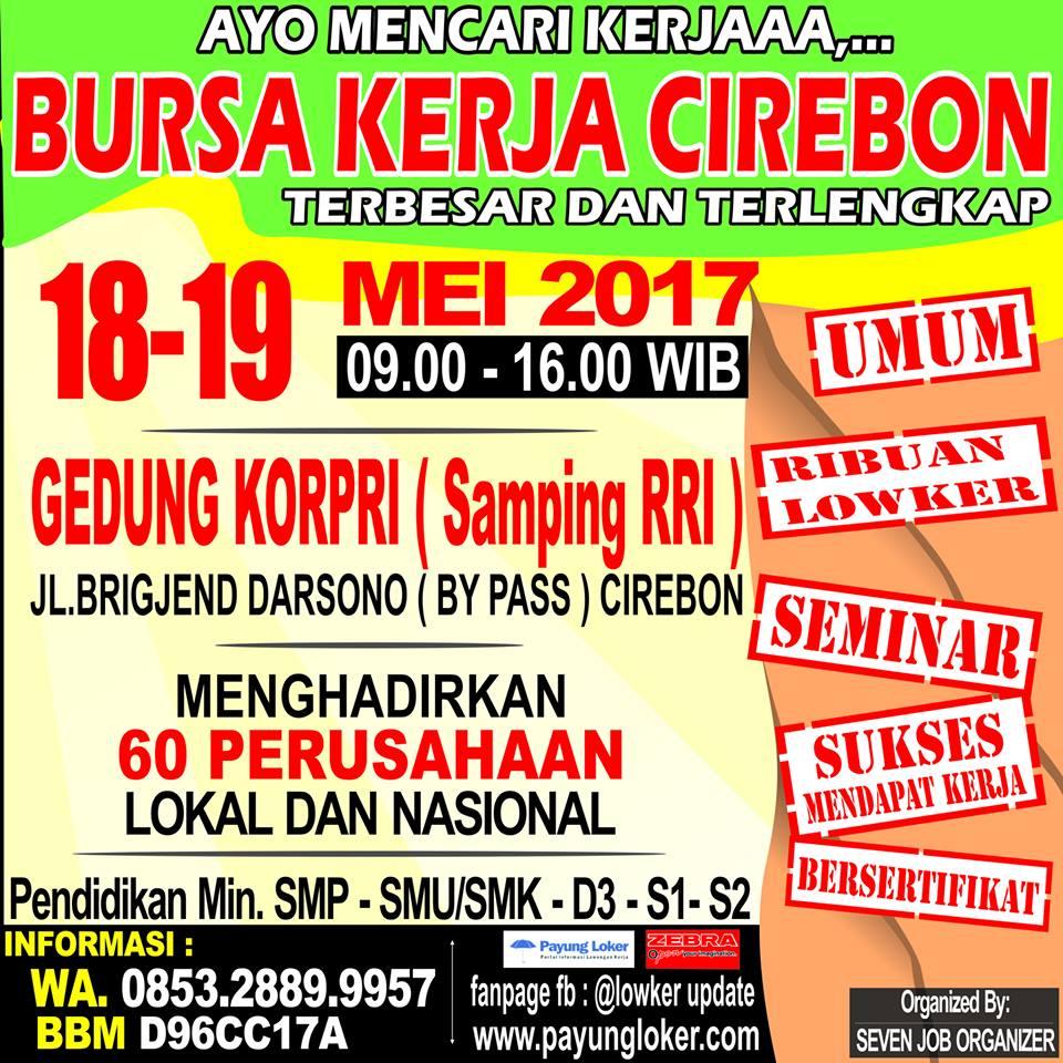 Dibuka Pendaftaran Bursa Kerja Cirebon, untuk 18-19 Mei
