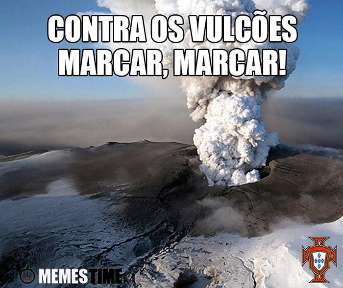 Meme Vulcão da Islândia – Contra os Vulcões, marcar, marcar!