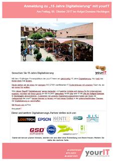 Einladung Anmeldung Digitalisierungs-Forum 15 Jahre yourIT