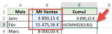 Cumul en utilisant la fonction SOMME