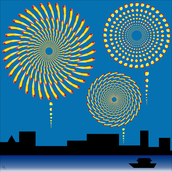 optical illusions illusion moving fireworks funny spiral fire circle circles brain amazing move dots july eye circular teasers mind crackers