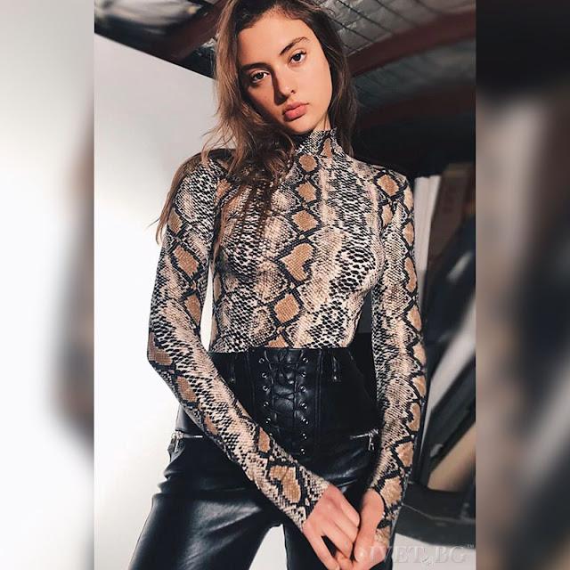 Μακρυμάνικη εντυπωσιακή γυναικεία μπλούζα SALIL BROWN