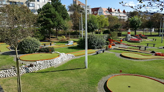 The Minigolf course (left) and Crazy Golf course (right) at Leopoldpark in Blankenberge, Belgium