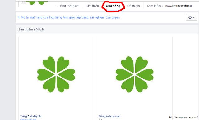 "Sản phẩm tại tab ""Cửa hàng"" fanpage facebook"