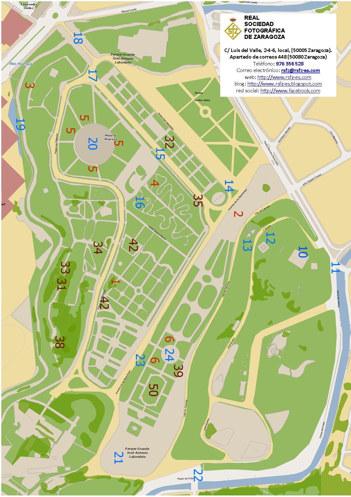 Mapa Parque Grande Zaragoza.Recorridos Fotograficos Por El Parque Jose Antonio Labordeta Real Sociedad Fotografica Zaragoza