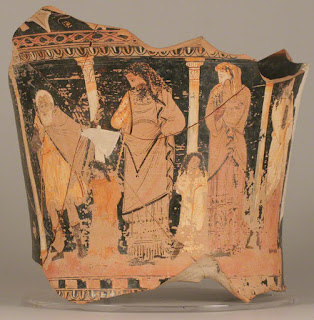 Oedipus discovering truth, vessel fragment, Greek, 330–320 B.C.
