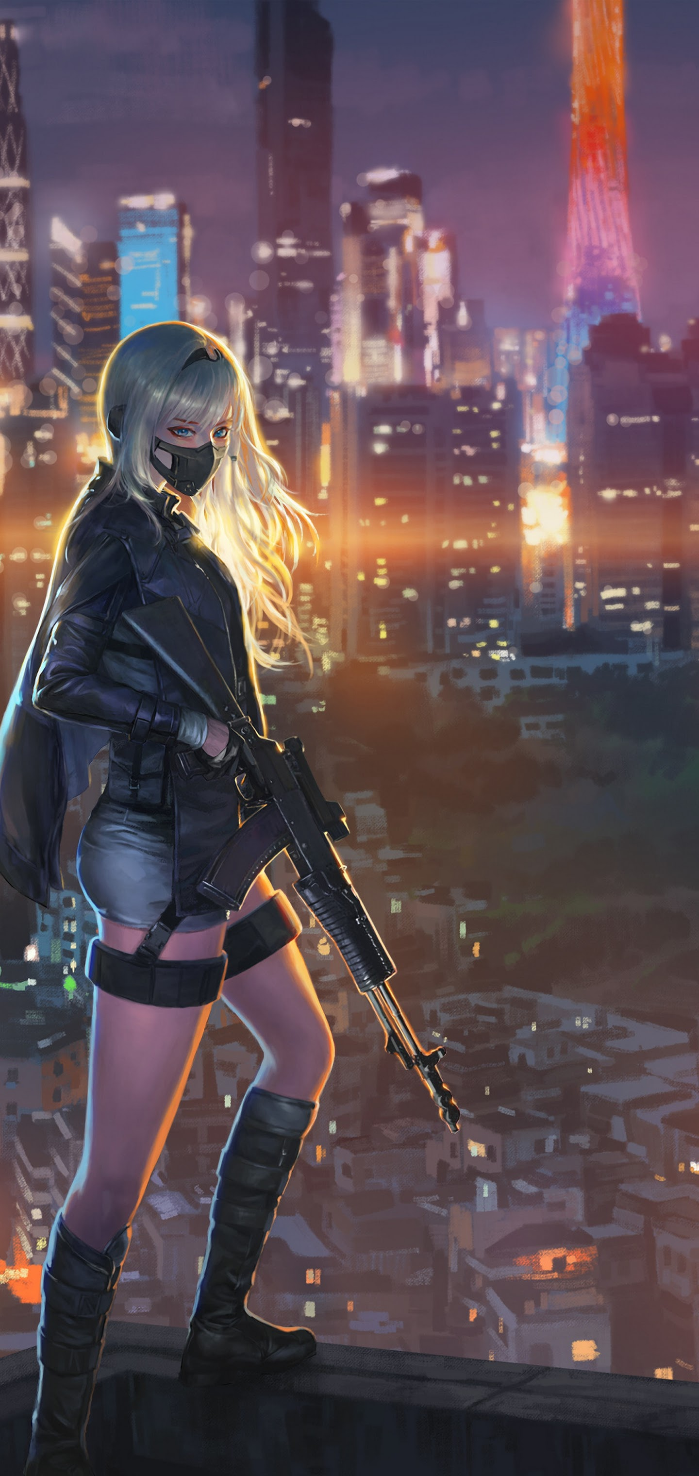 Anime Girl Rifle City Night 9K Wallpaper #9