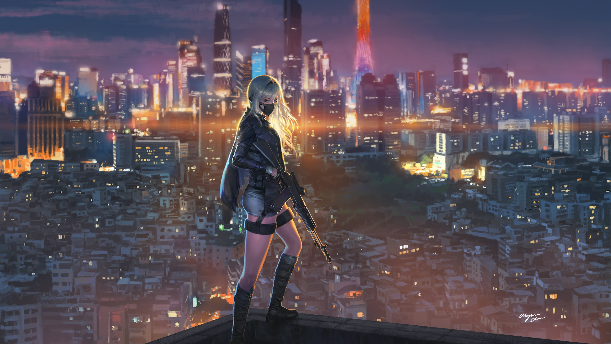 anime girl rifle city night uhdpaper.com 4K 188