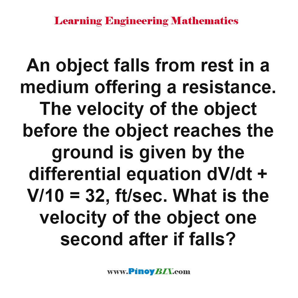 What is the velocity of the object one second after it falls?