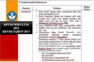 Download Contoh RPP Kurikulum 2013 Format Terbaru Tahun Ajar 2017/2018