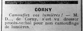 coupure de presse l'impartial extinction lumieres corny 27 eure 1941