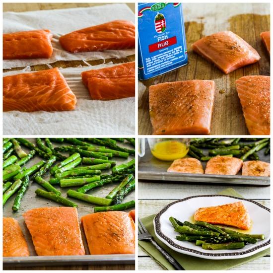 Roasted Lemon Salmon and Asparagus Sheet Pan Meal found on KalynsKitchen.com
