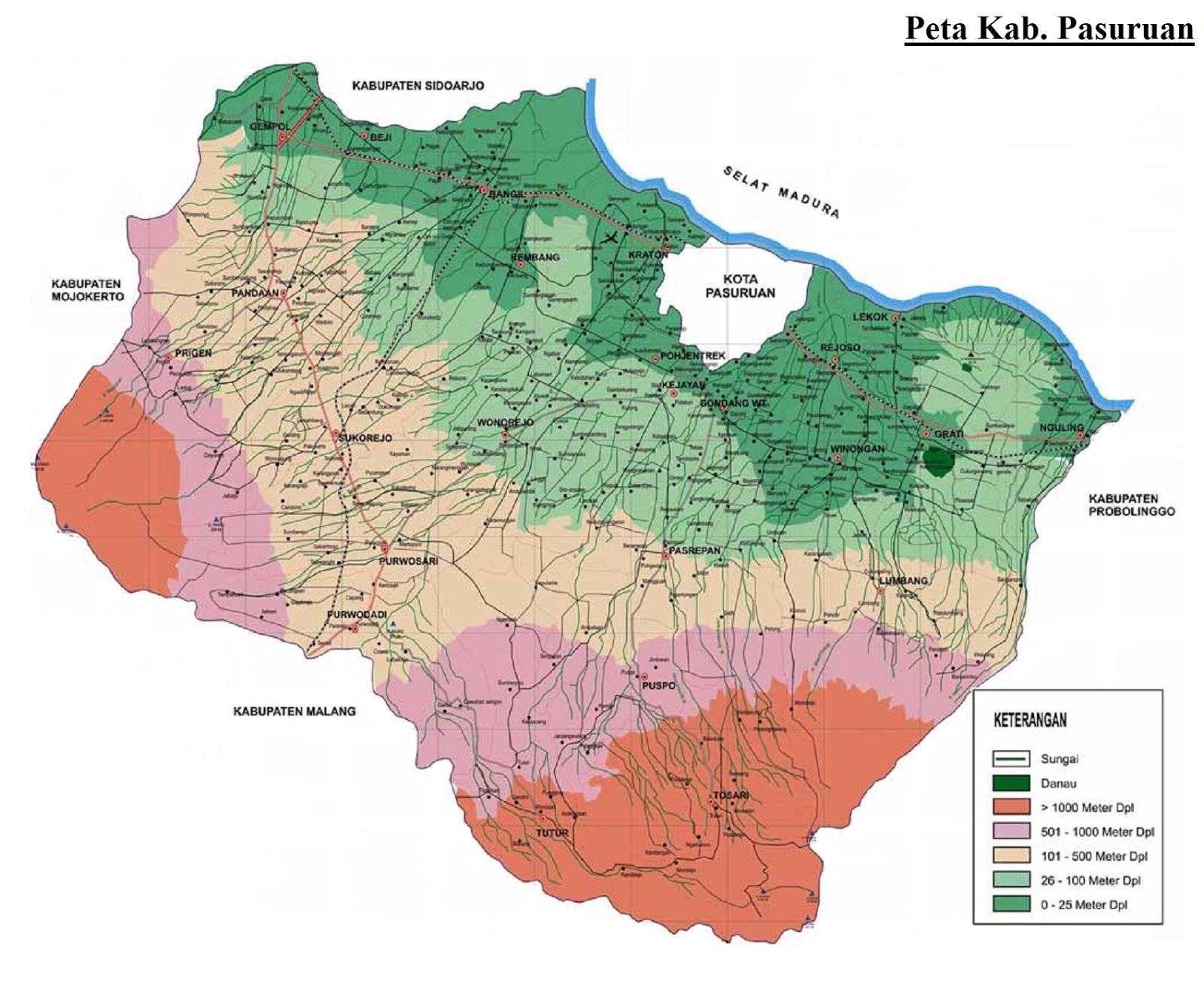 Gambar Peta Kabupaten Pasuruan HD