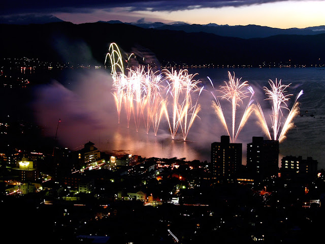 Suwako Matsuri Fireworks Festival at Lake Suwa, Nagano Pref.