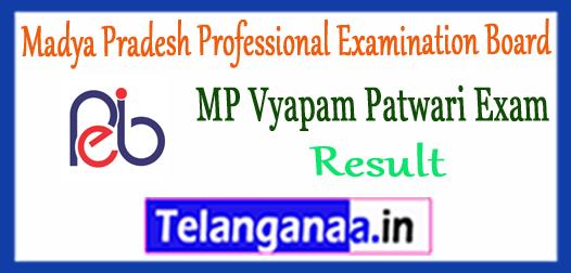Madya Pradesh Professional Examination Board Vyapam Patwari Result 2017