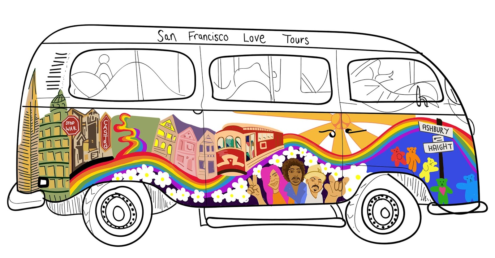 San Francisco love tours camper van illustration