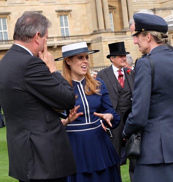 Kate Middleton wore Christopher Kane coat dress. Kiki McDonough Blue Topaz, Diamond Drop Earrings, Gianvito Rossi Praline suede pumps