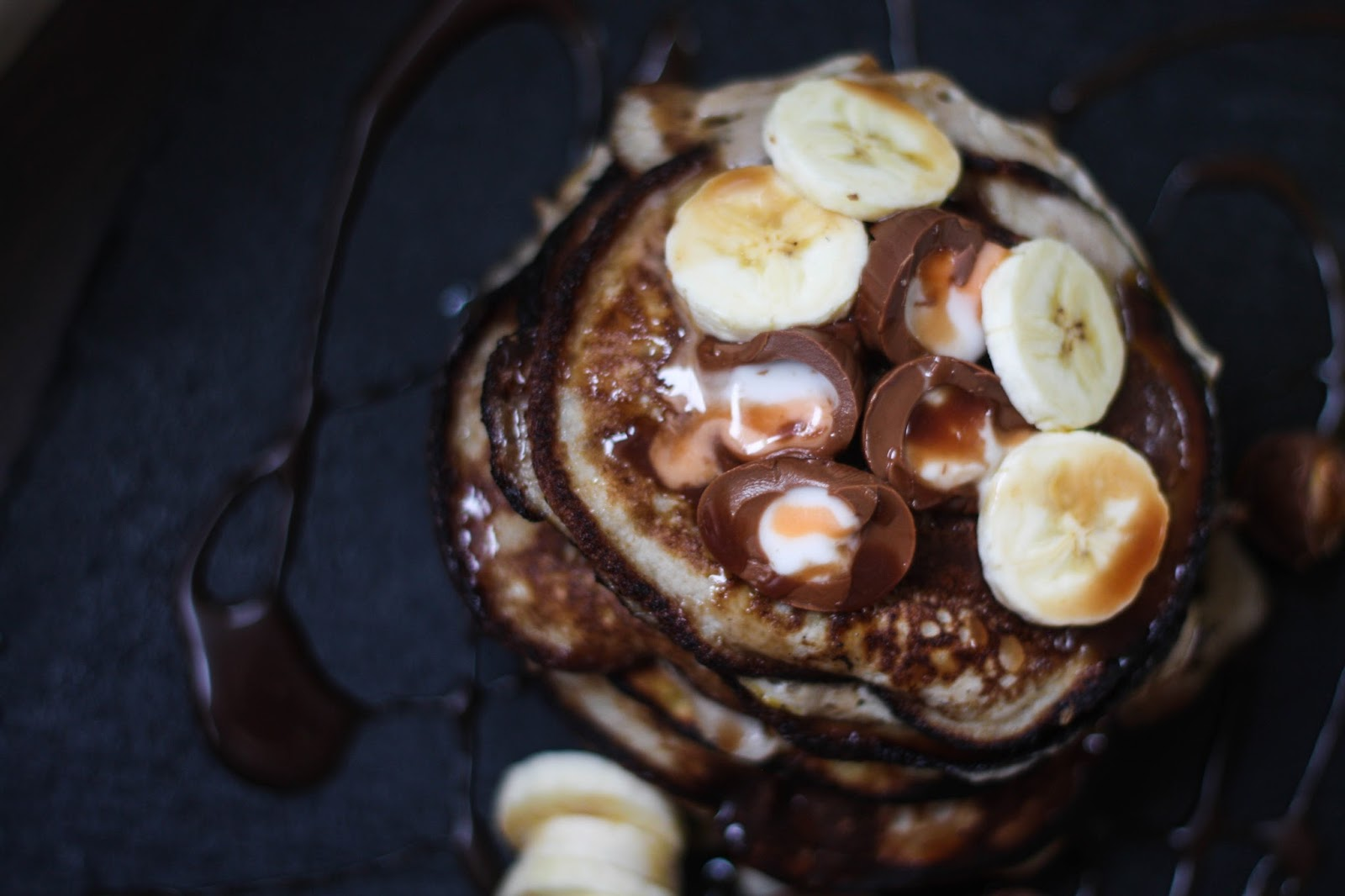 Banana pancakes with Creme Eggs