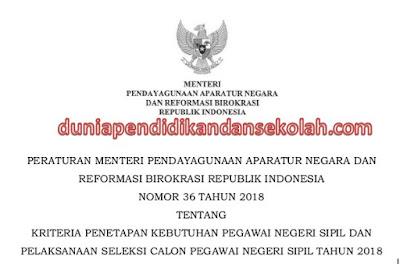 Salinan PERMENPAN-RB Nomor 36 Tahun 2018 Tentang Kriteria Seleksi/ Penerimaan PNS Tahun 2018