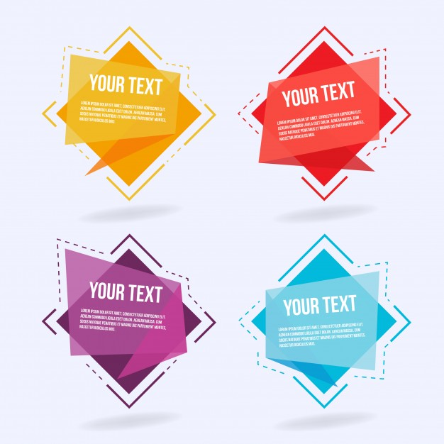 Abstract origami labels Free Vector