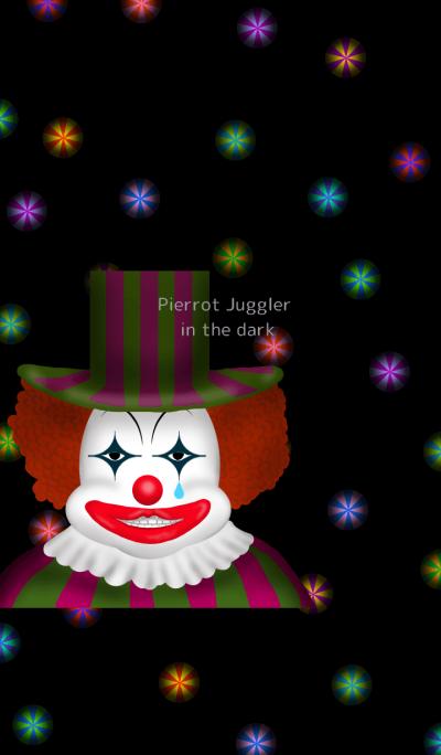 Pierrot Juggler in the dark