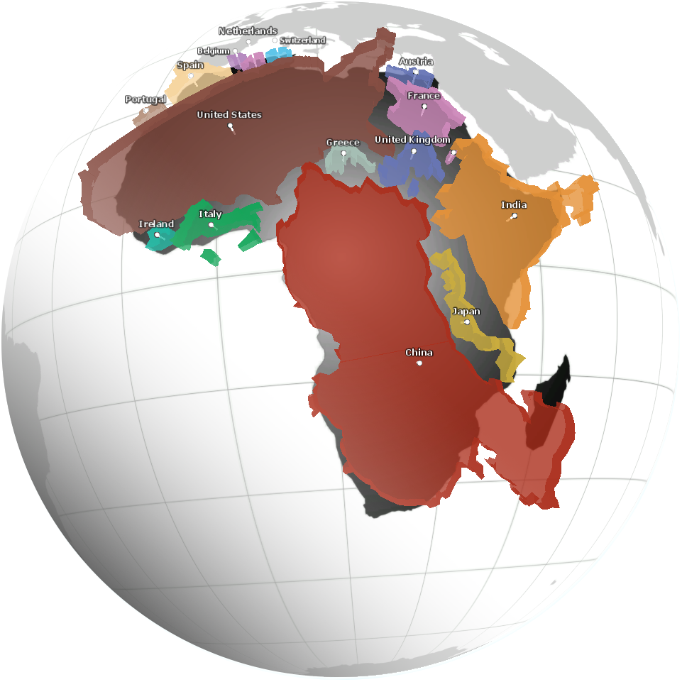 World Map Real Size Of Countries.Cartonerd True Size Of Africa Now In Three Dee
