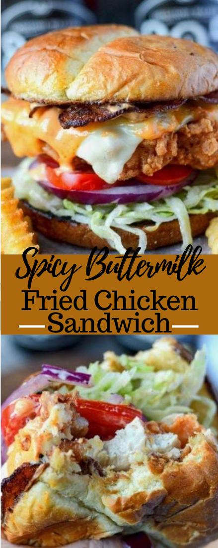 SPICY BUTTERMILK FRIED CHICKEN SANDWICH #dinner