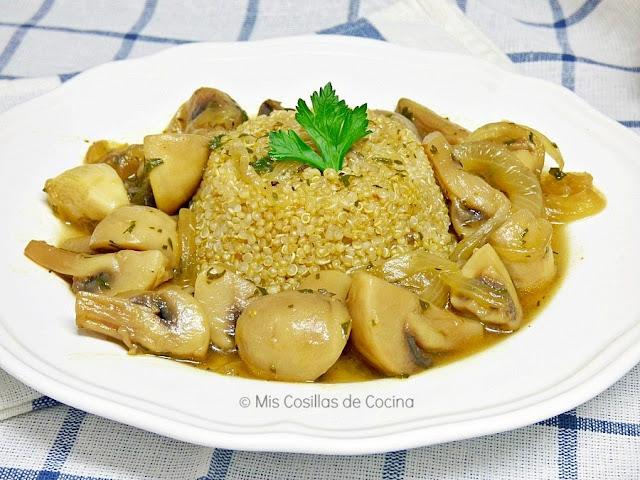 guiso champiñones y quinoa