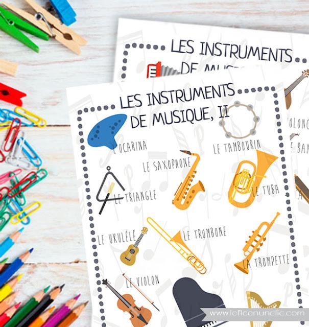 freebies, infographies gratuites, les instruments de musique, vocabulaire, FLE, le FLE en un 'clic'