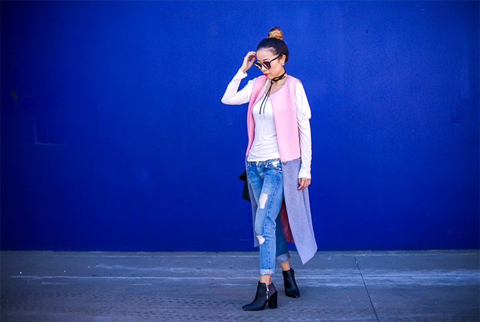 colorlbocked vest, white tee, 7fam boyfriend jeans, quay sunglasses, whiting and davis fold over tote, pointy toe ankle booties, fall fashion, fall street style, san francisco fashion blog, san francisco street style