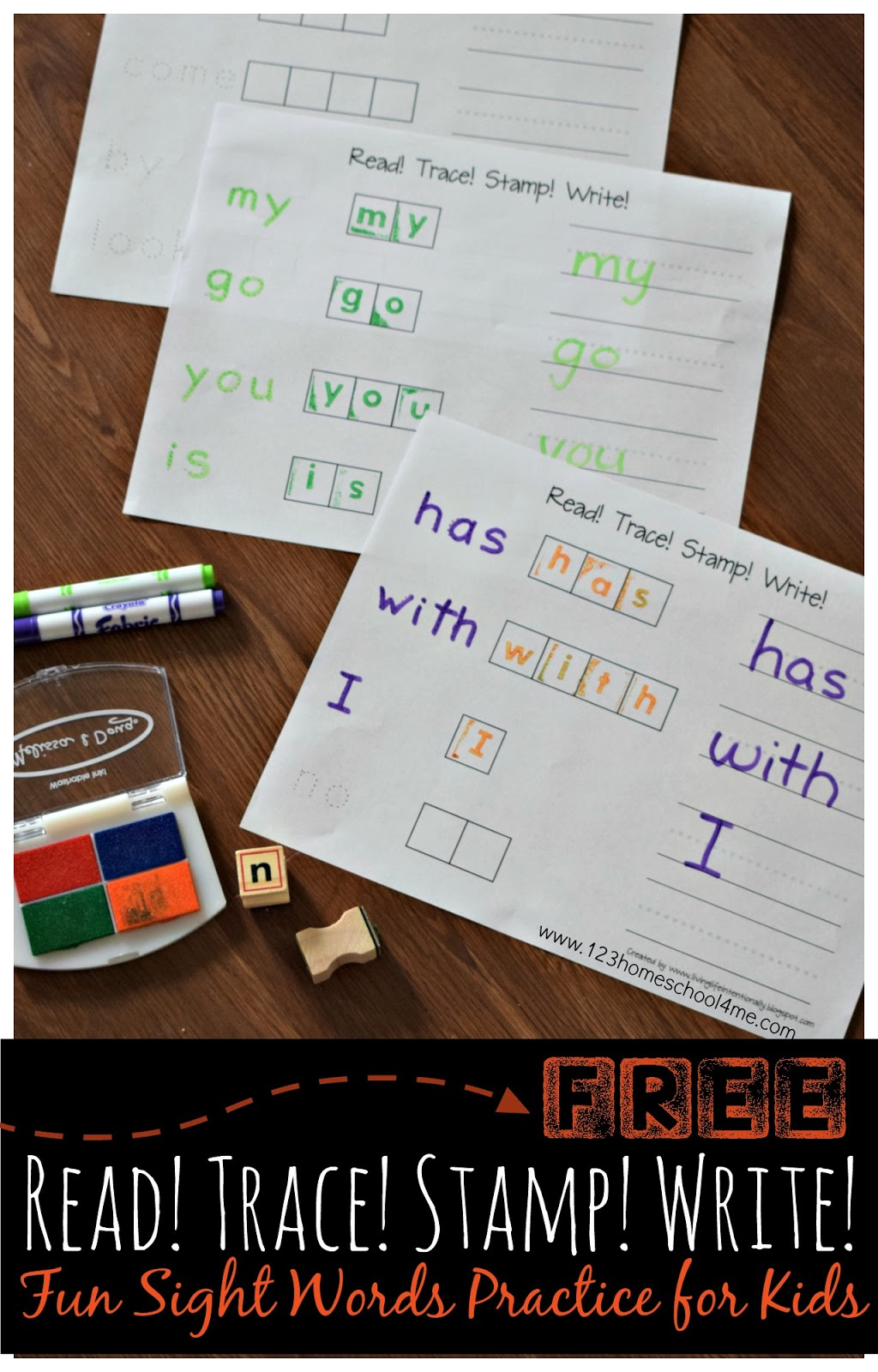 Read Trace Stamp Write Sight Words Worksheets