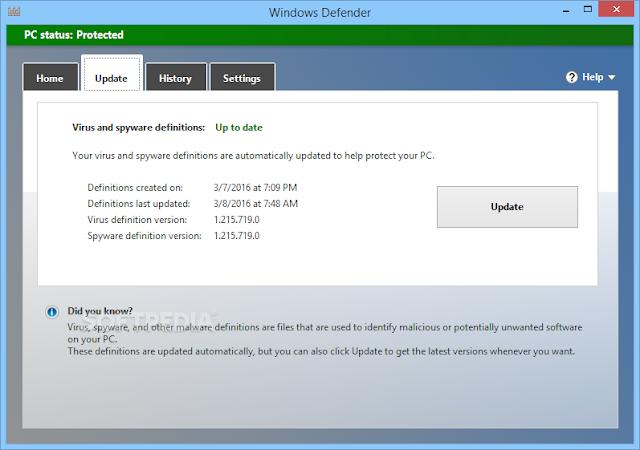تحميل برنامج ويندوز ديفندر التحديث الاخير Windows Defender Definition Updates 1.215.719