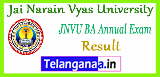 JNVU Jai Narayan Vyas University BA 1st 2nd 3rd Year Result 2018