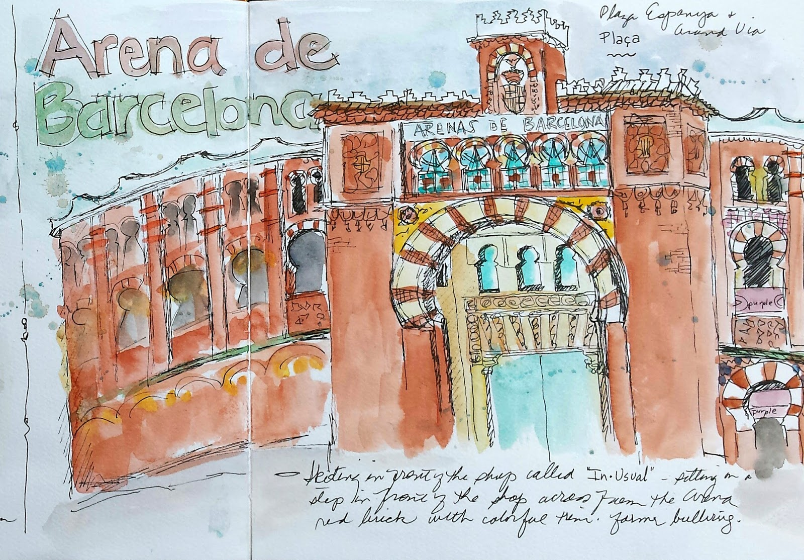 urban sketching barcelona day 9 montjuic national art museum