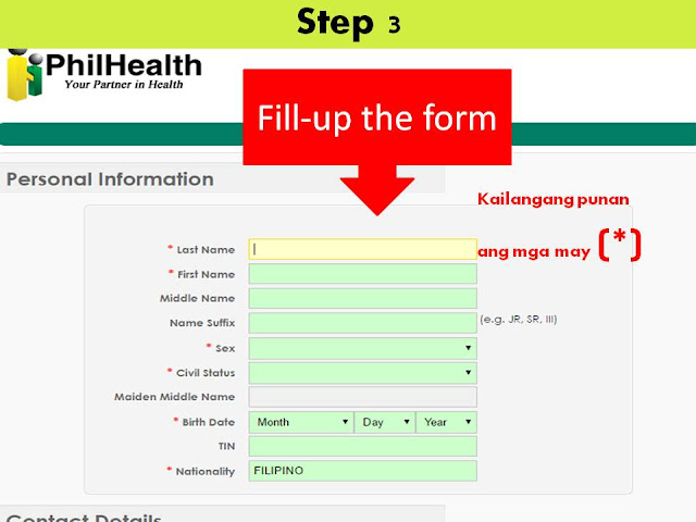 Fill up the PhilHealth Insurance online registration form