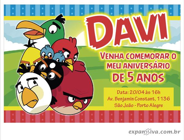convite aniversario angly birds colorido - Lindos convites de aniversário dos Angry Birds