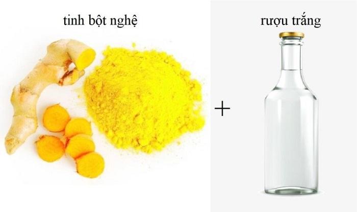 dùng nghệ ngâm rượu trị nám da