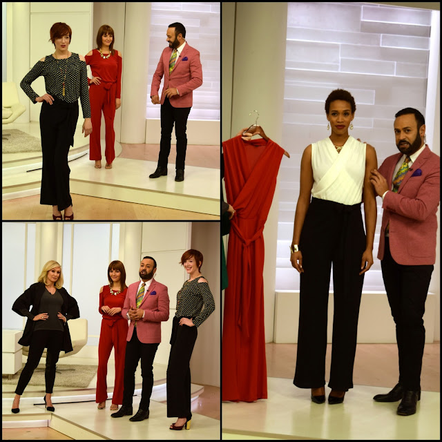 1273462bbaa76 Jumpsuit Fab  Nick Verreos with models in his NV Nick Verreos EVINE Live  Knit Draped Top and Tie-Waist Jumpsuit--NV Nick Verreos EVINE Live January  2016 ...