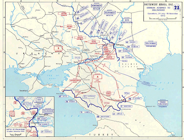 German advance to the Caucasus and Stalingrad. July 24, 1942 to November 18, 1942 map