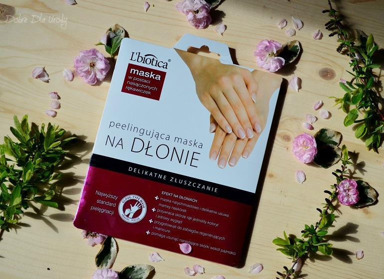 Peelingujaca maska na dłonie L`Biotica w postaci nasączonych rękawiczek