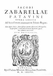 The title page of Zabarella's book, Opera Logica, published in 1577