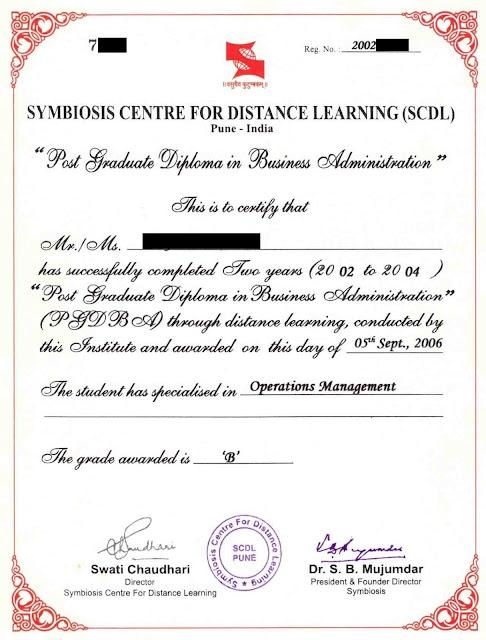 SCDL PGDBA Sample Certificate