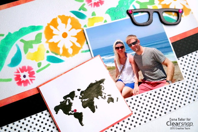 How to Use Stencils Stamps and Ink on a Vacation Scrapbook Layout by Dana Tatar