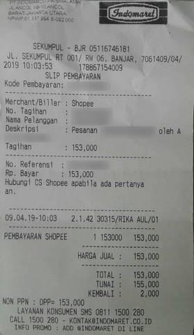 Struk Pembayaran Shopee