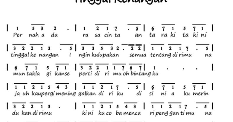 Not Angka Lagu Tinggal Kenangan Gaby Untuk Piano Pianika