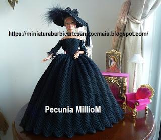 Vestido de Época em Crochê Para Boneca Barbie - Sra. Inglesa do Séc. XVIII Por Pecunia MillioM
