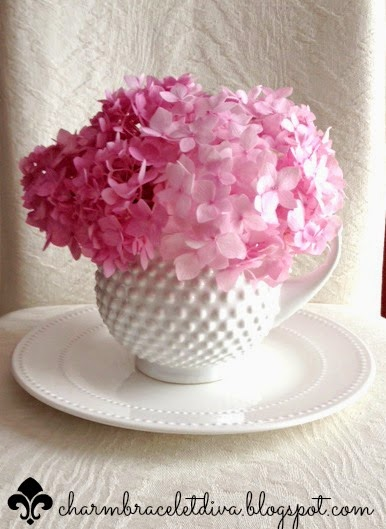 Milk glass pitcher vase fresh cut hydrangea blooms