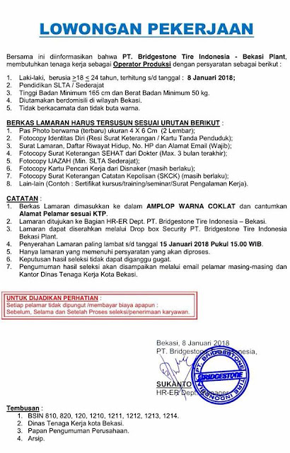 Lowongan Loker Bridgestone Tire Indonesia 2018