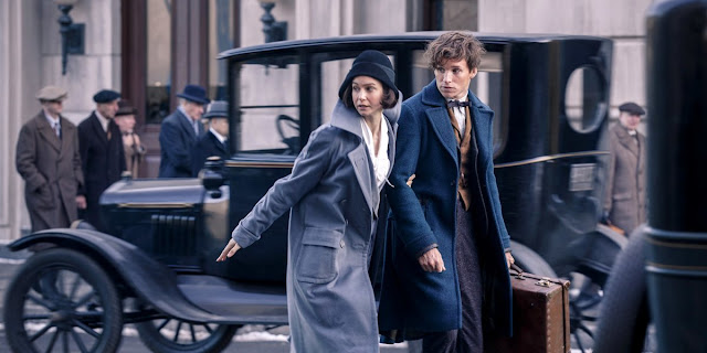 "Katherine Waterston and Eddie Redmayne are troubled magicians in ""Fantastic Beasts and Where to Find Them"""