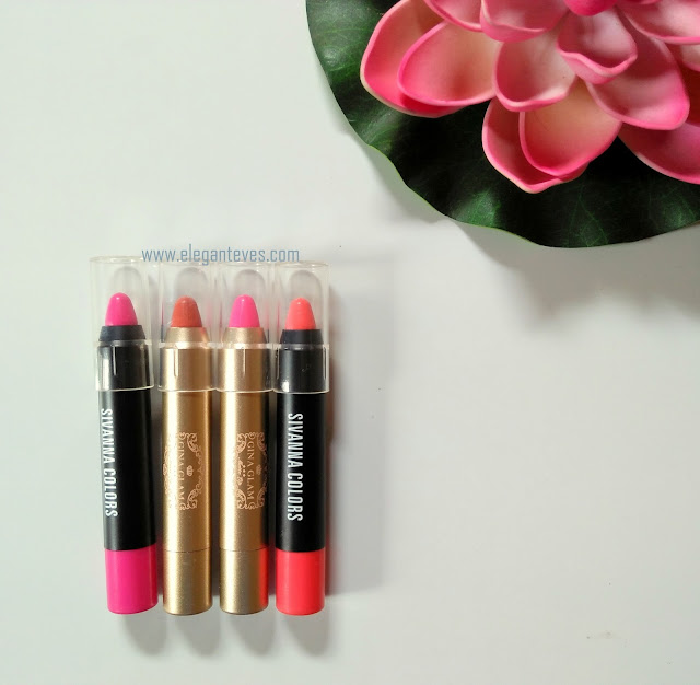 Sivanna Colors Lipstick Pencil 01, 04 and Gina Glam Lipsticks Review
